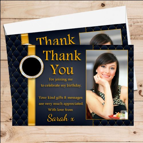10 Personalised Birthday Party Thank you PHOTO Cards N253 Black & Gold Quilt